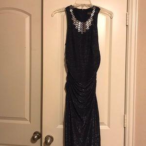 Navy blue floorlength evening gown